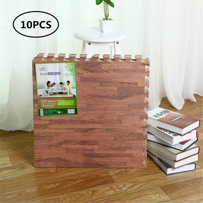 Soft Eva Foam Puzzle Crawling Mat;10pcs Wood Interlock Floor Tiles;Waterproof Ru