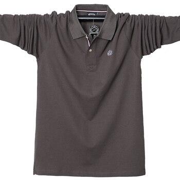 2019 Automne hommes polo à manches longues chemise de grande taille 5XL 95% coton décontracté polo hommes hauts t-shirts de marque de haute qualité polos chemises