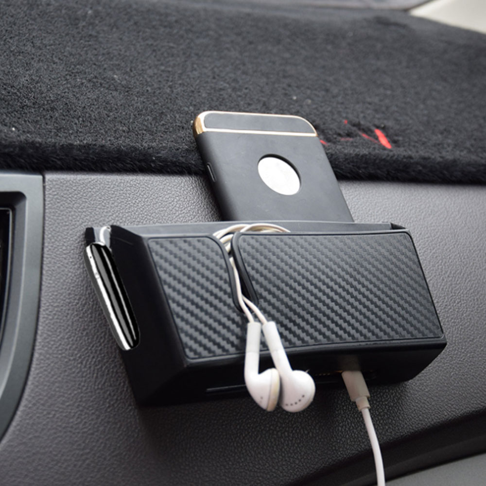Car Seat Clearance Carbon Fiber Pattern Car Storage Box Car Mounted Mobile Phone Glove Box Organizer for Phone Keys Drinks