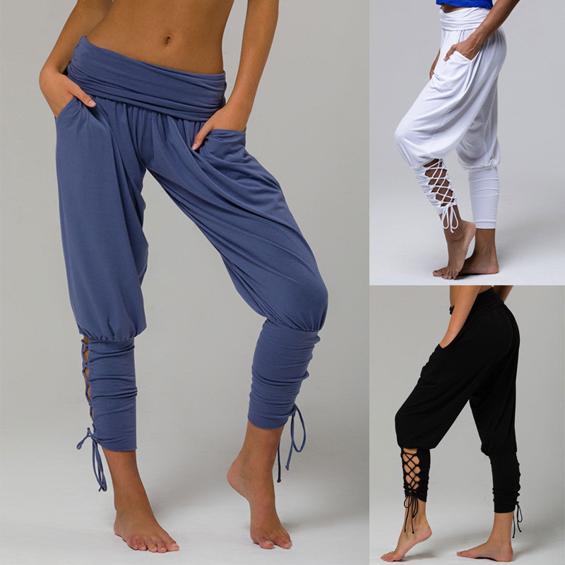 <font><b>Women</b></font> Jogging <font><b>Sexy</b></font> <font><b>Pant</b></font> Workout <font><b>Leggings</b></font> Female Soft Solid Lace Jogger Harem <font><b>Pant</b></font> Slim <font><b>Fitness</b></font> Loose Bandage <font><b>High</b></font> <font><b>Waist</b></font> Pocket image