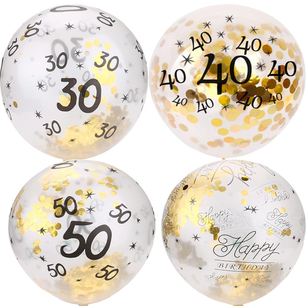 5 pçs ballon 30 40 50th feliz aniversário idade confetes cheios balões decoração da festa de casamento adulto crianças látex ballon|Balões e acessórios|   -
