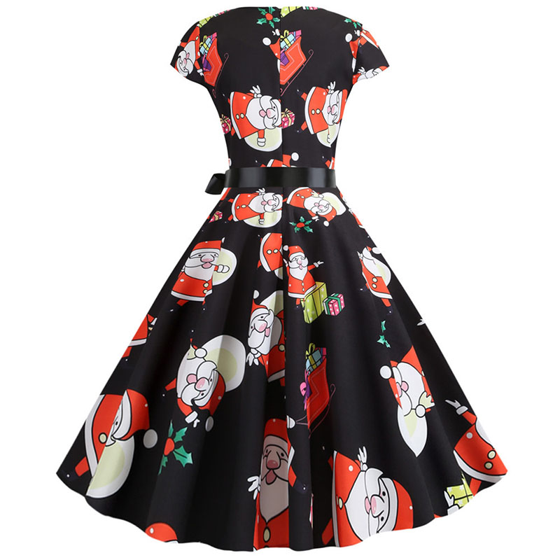 Women Christmas Party Dress robe femme Plus Size Elegant Vintage Short Sleeve Xmas Summer Dress Black Casual Midi Jurken Vestido 763