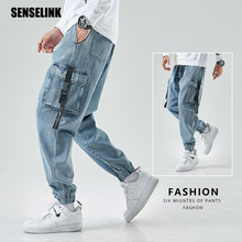 Men Cargo Pants Joggers Denim Baggy Harem Streetwear Men Outdoor Casual Fashion Pants Plus Size Hip Hop Jeans Trousers Men M-8XL