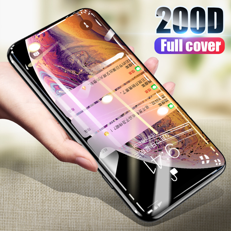 200D Curved Edge Protective Glass On The For IPhone X 7 8 6 6s Plus Tempered Screen Protector For IPhone 11 XS Max Pro X XR Film