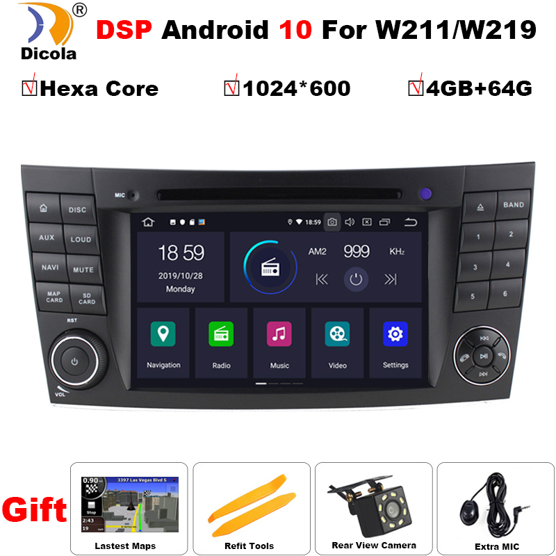 PX6 DSP IPS 4G+64G Android 10 car DVD player For <font><b>Mercedes</b></font> Benz E-class <font><b>W211</b></font> E200 E220 E300 E350 E240 E270 E280 CLS CLASS W219 image