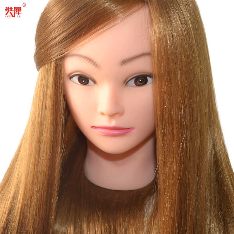 Kappershoofd Met 85% Goud Menselijk Haar Voor Kapper Praktijk Kapsel Kapper training mannequin head