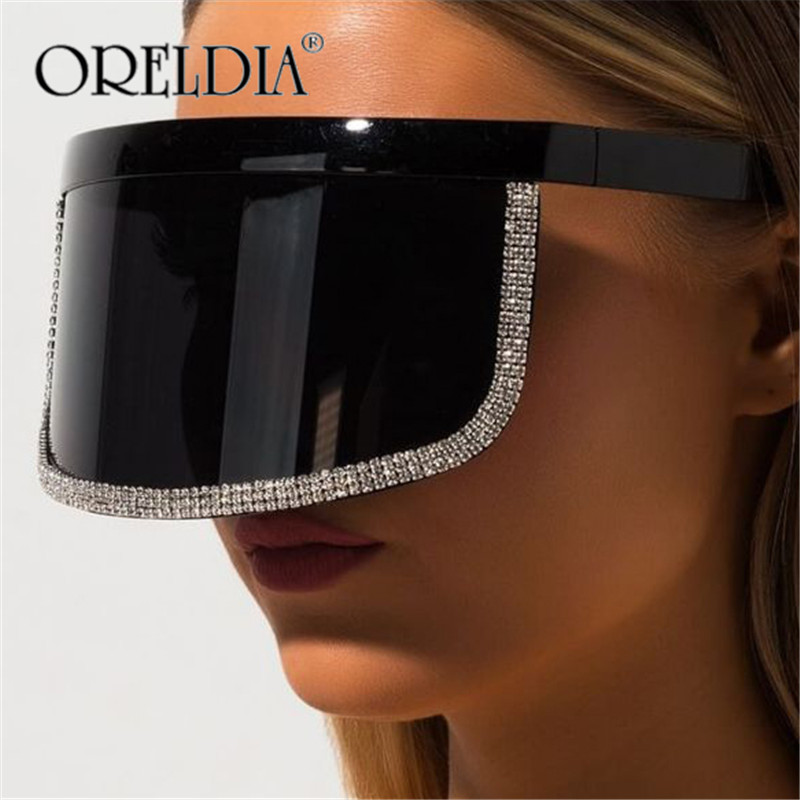 Brand Design Oversized Goggle Sunglasses Women Men Luxury Big Frame Mask Mirror Eye Protection Silver Glasses Shade UV400 Gafas