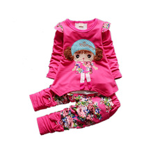 Autumn Winter Children Girls Fashion Clothing Sets Baby Cartoon Hooded Jacket Pants 2Pcs/sets Tracksuits
