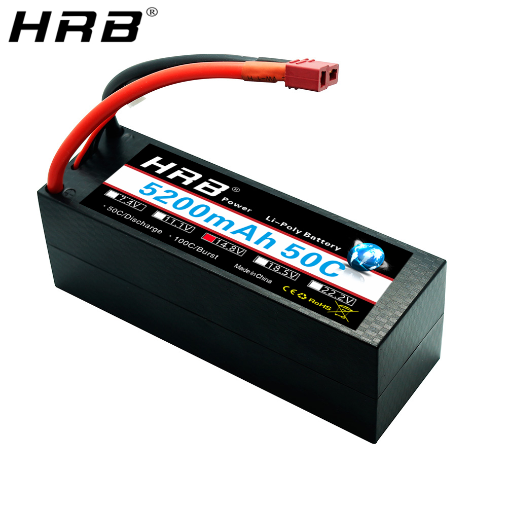 HRB <font><b>Lipo</b></font> <font><b>4S</b></font> Battery 14.8V <font><b>5200mah</b></font> 50C T Deans XT60 EC5 XT90 XT90-S Hard Case For Traxxas 1:8 Buggy Car Airplanes Boats RC Parts image