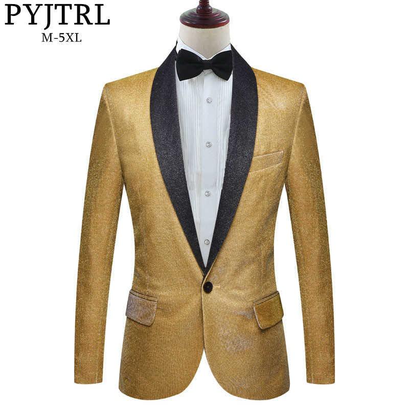 Pyjtrl Mens Fashion Fantasy Kleur Shiny Gold Blauw Paars Groen Blazers Wedding Grooms Prom Jurk Jasje Dj Zangers Kostuum