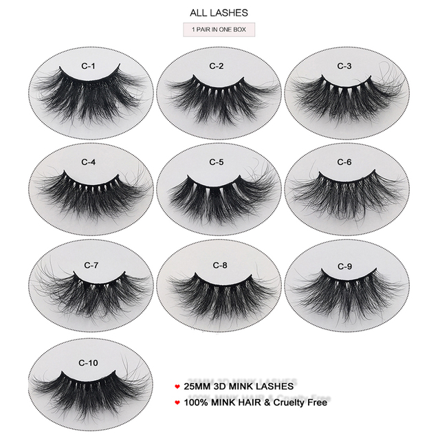 RED SIREN 25mm Lashes Real Mink Eyelashes Cruelty Free Dramatic Long Fluffy 3d Mink Lashes Extension Makeup Mink Lashes 6