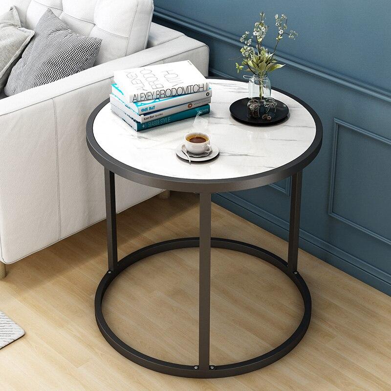 Metal Wood Marbled Grain Coffee Table Living Room Simple Modern