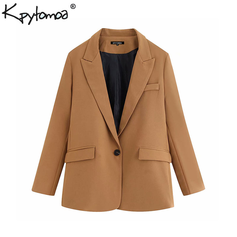 Vintage Stylish Pockets Office Lady Blazers Coat Women 2019 Fashion Notched Collar Long Sleeve Outerwear Casual Chaqueta Mujer