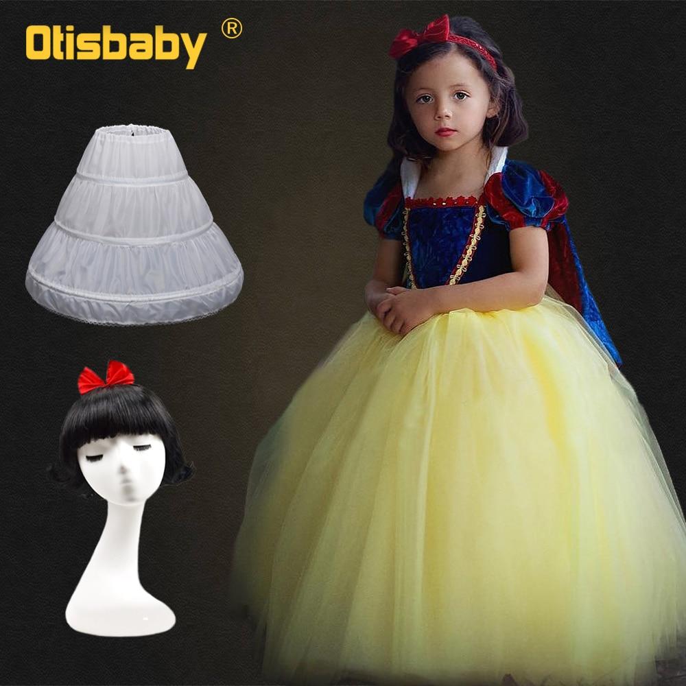 Girls Snow White Princess Dresses Kids Girls Halloween Party Christmas Cosplay Dresses Costume Children Girl Velvet Clothing Wig