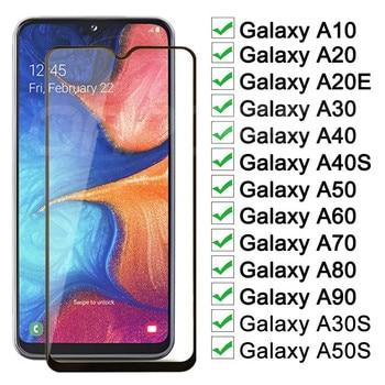 Перейти на Алиэкспресс и купить 9D защитный Стекло на samsung Galaxy A10 A20 A30 A40 A50 A60 A20E A30S A50S Экран протектор для samsung A70 A80 A90 Стекло