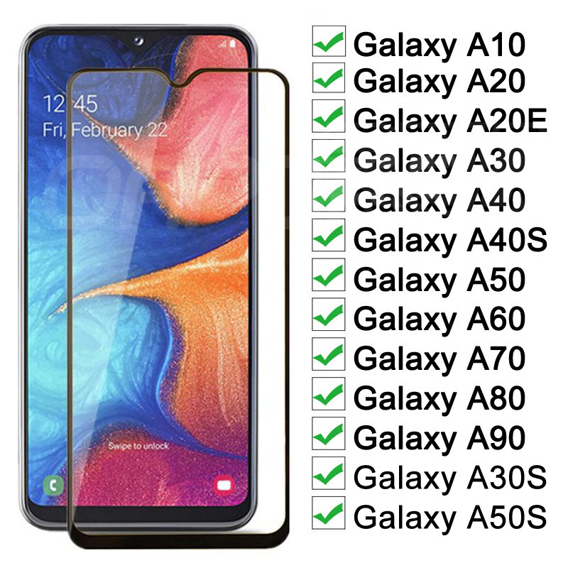 9D Protective Glass On For Samsung Galaxy A10 A20 A30 A40 A50 A60 A20E A30S A50S Screen Protector For Samsung A70 A80 A90 Glass