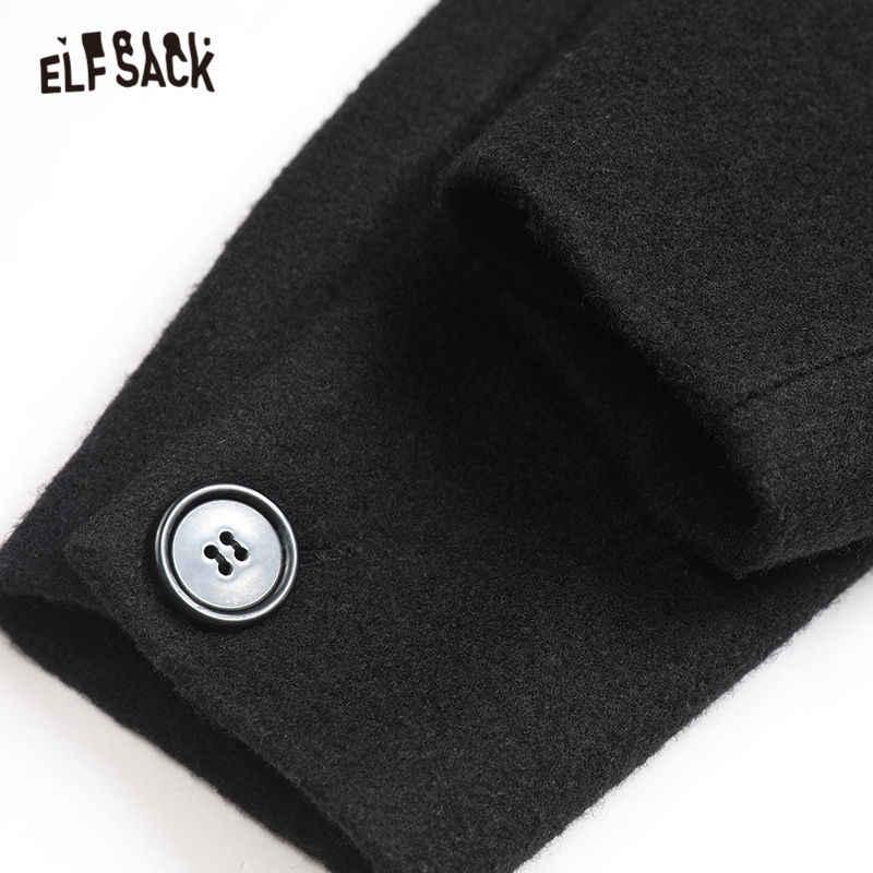 ELFSACK الأسود الصلبة مستقيم مزدوجة الصدر معطف صوف المرأة 2019 الشتاء حزام الظهر طويلة الأكمام عارضة الإناث الدافئة أبلى