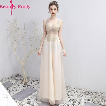Fashion Evening Dresses Lace Long A-Line V Neck Sleeveless Tulle Elegant Formal Party Dresses Appliques Beaded Dress Real Photo