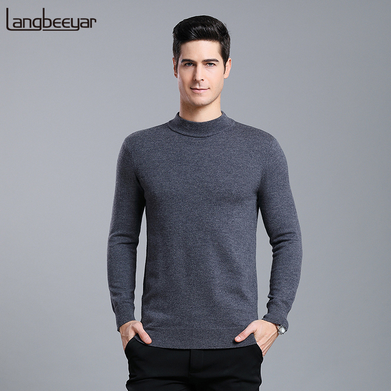 6% Wool Fashion Brand Sweaters Men Pullovers Half Turtleneck Slim Fit Jumpers Knitwear Thick Autumn Casual Clothing Male