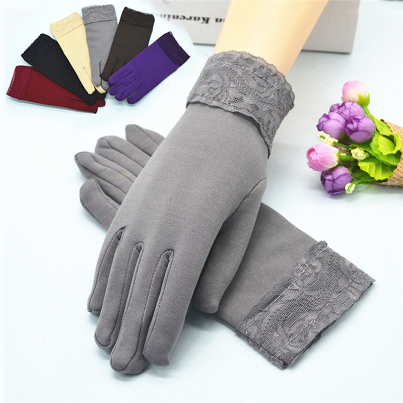 Autumn And Winter Mittens Women's Solid Acrylic Wide-edge Lace Brushed Outdoor Riding Leisure Dancing Warm Five-finger Gloves