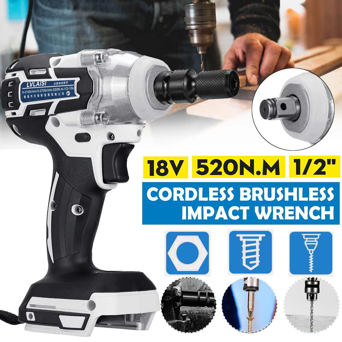 18V 520N.m Cordless Brushless Impact Wrench Stepless Speed Change Switch Adapted To 18V Makita Battery DTW285Z With Converter