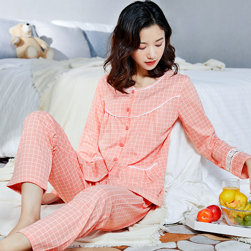 Image 4 - 100% Cotton Pajamas Women PJ 2 Pieces Lounge Sleepwear Bedgown for Ladies 2019 Pink Nightgown Home Clothes Pure Cotton Pajamas-in Pajama Sets from Underwear & Sleepwears