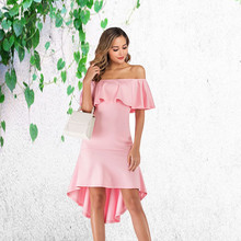 Women Sexy Off Shoulder Ruffle Pleated Asymmetrical Party Night Club Dress Office Lady Elegant Casual Vintage Dresses