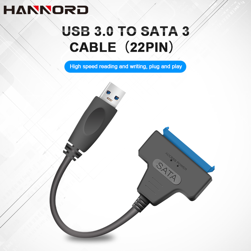 Hannord SATA Cable USB 3.0 2.0 Sata To USB Adapter Up To 6 Gbps Support 2.5 Inches SSD HDD Hard Drive 22 Pin SATA 3 Cable