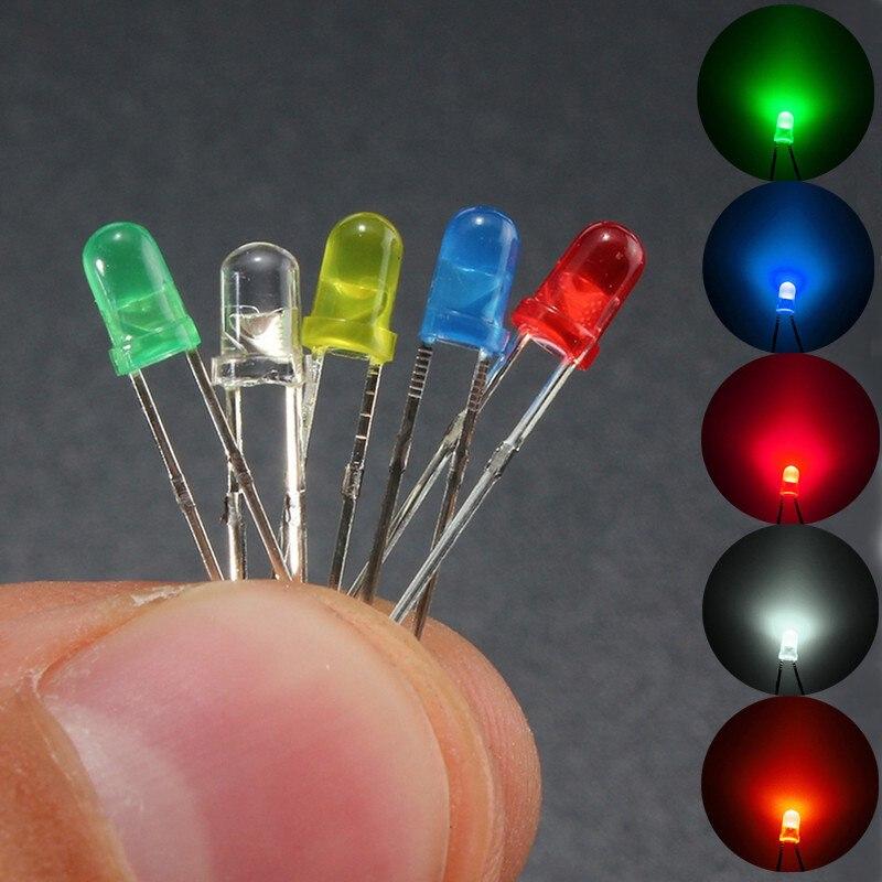 100 pçs led emitindo diodos kit de luz 3mm 5 cores redondas  superior difuso branco amarelo vermelho azul verde variedade kit para  iluminação diyLâmpadas LED e tubos