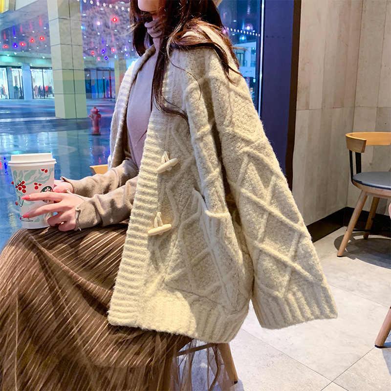벨라 철학 긴 카디건 솔리드 컬러 포켓 v-목 두꺼운 박쥐 슬리브 캐주얼 스웨터 느슨한 가을 겨울 새로운 스웨터