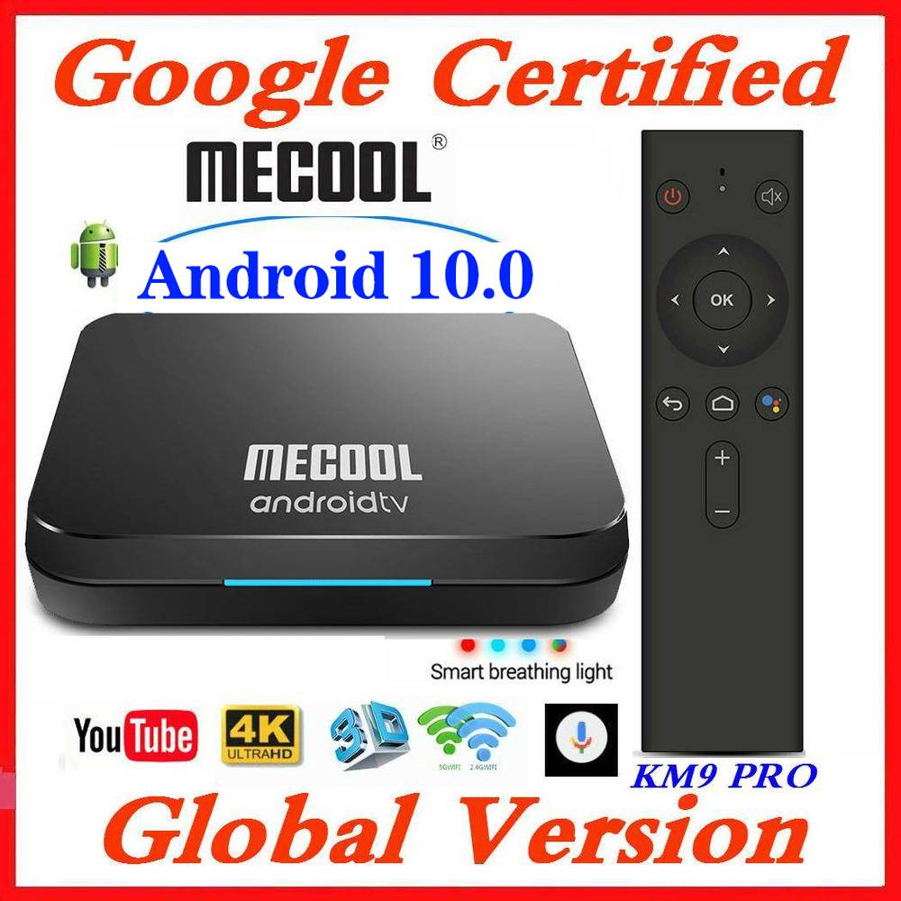 Google Certified MECOOL Androidtv Smart TV Box Android 10 0 KM9 PRO ATV Amlogic S905X2 4K 2 4G 5G Wifi KM3 TV BOX 4G 128G