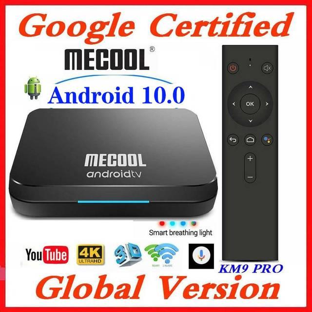Google Chứng Nhận MECOOL TV Box Android 9.0 KM9 PRO Androidtv 9.0 4 GB RAM 32 GB Amlogic S905X2 4 K bằng giọng nói 2.4G 5G Wifi BT4.0 KM9 ATV