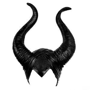 Image 2 - cosplay Maleficent  Helmet Halloween Cosplay Maleficent Witch Horns Hat Head wear Mask Headgear Helmet Party Black Queen