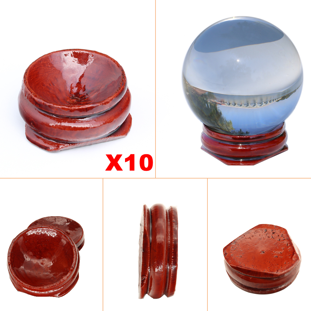 10pcs Wooden Display Stand Crystal Ball 30 40 50mm Glass Divination Globe Base Photography Lensball Support Magic Sphere Holder