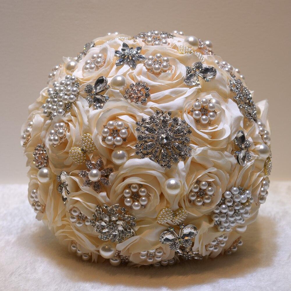25 см для свадьбы искусственные цветы, шелковые стразы, цветы розы, растения, букет, украшение дома, роскошный подарок на день Святого Валенти... - 4