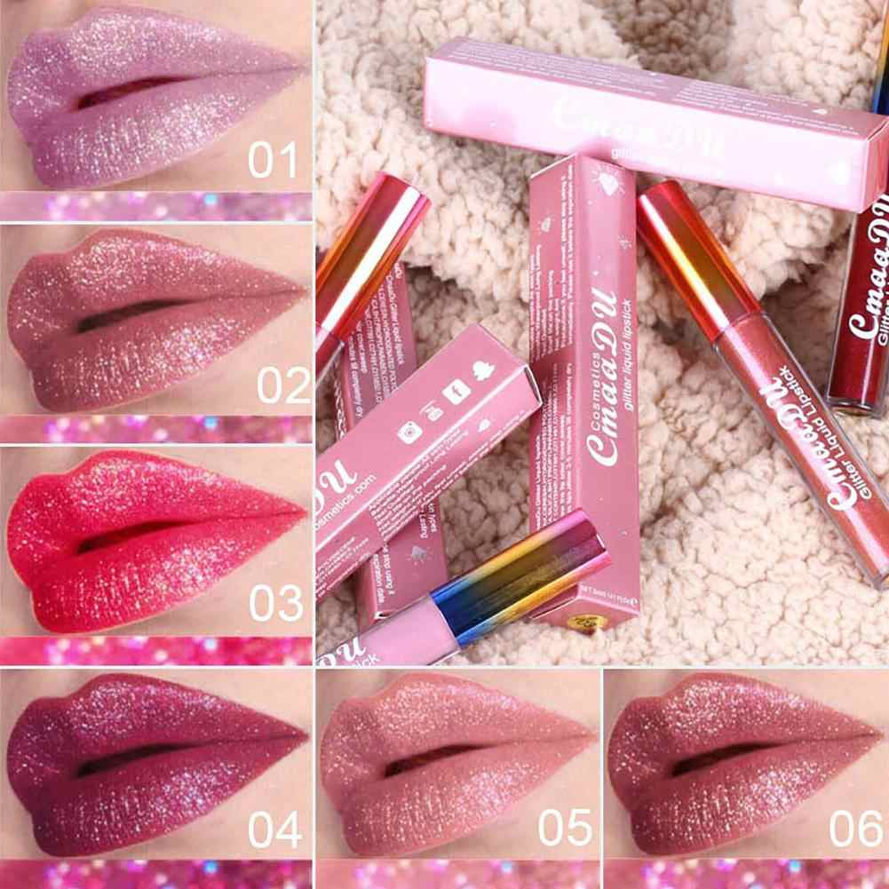 מתכתי מט כדי גליטר נוזל שפתון לאורך זמן נשים איפור גלוס עדין מט-כדי-גליטר גלוס עושה שפתיים
