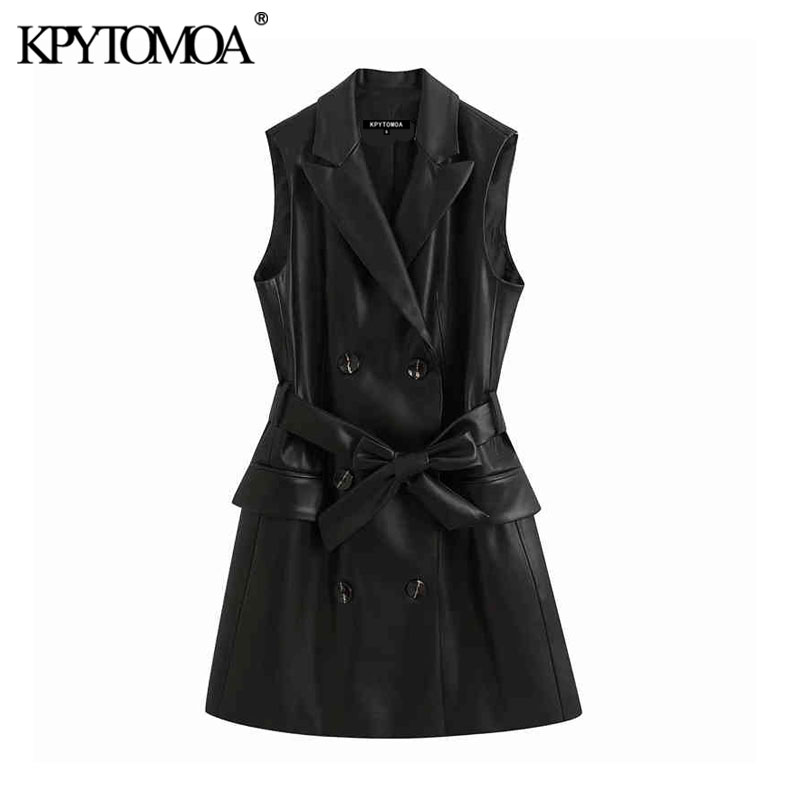 KPYTOMOA Women 2020 Vintage Fashion PU Faux Leather Waistcoat Double Breasted With Belt Pockets Female Outerwear Chic Tops