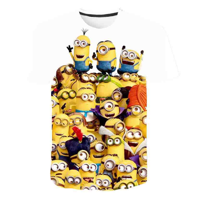 3D 아기 만화 인쇄 미니언 T 셔츠 어린이 귀여운 바나나 소년 소녀 옷 티셔츠 여름 O'Neck 노란색 옷 Dropship 4T-14T