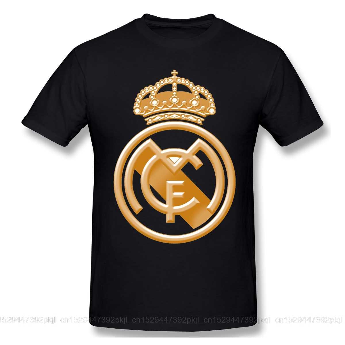 T Shirts Männer Goldene Reales Madrided Crest T-shirt Hohe Qualität T Vater Tag Tops 100% Baumwolle fußball team Reine Baumwolle tees