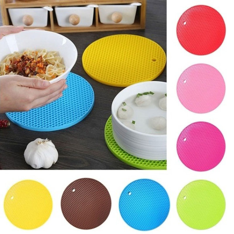 1 Piece Silicone Heat Insulation Pad Honeycomb Cushion Round Silicone Table Mat Silicone Non-slip Pad Cup Cushion