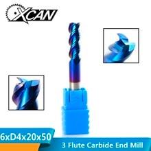 XCAN 1 шт. 6 мм Карбид вольфрама Концевая фреза нано синее покрытие алюминий резка спиральные фрезы 3 Флейта ЧПУ фрезы