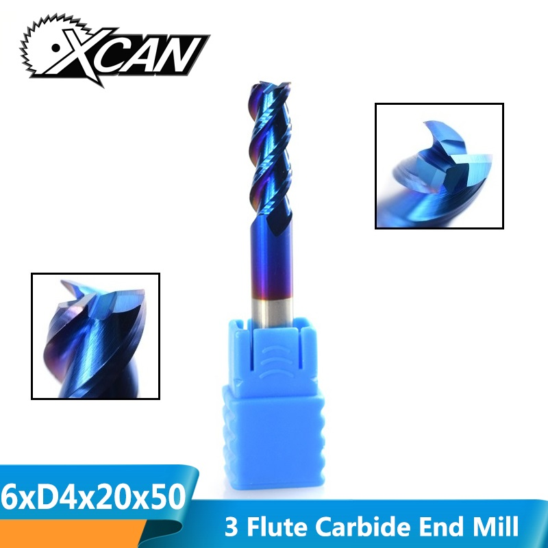 XCAN 1pc 6mm Tungsten Carbide End Mill Nano Blue Coating Aluminum Cutting Spiral Milling Cutter 3 Flute CNC Router Bit