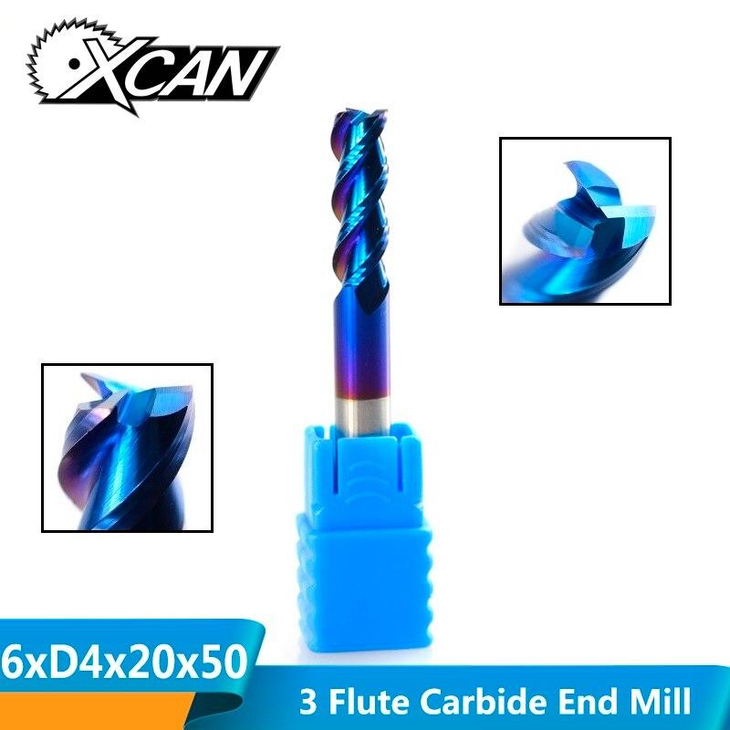 XCAN 1pc 6mm Tungsten Carbide End Mill Nano Blue Coating Aluminum Cutting Spiral Milling Cutter 3 Flute CNC Router Bit