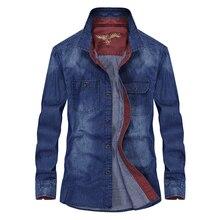 Spring Autumn Denim Male Shirts Plus Size Xxxxl Lo
