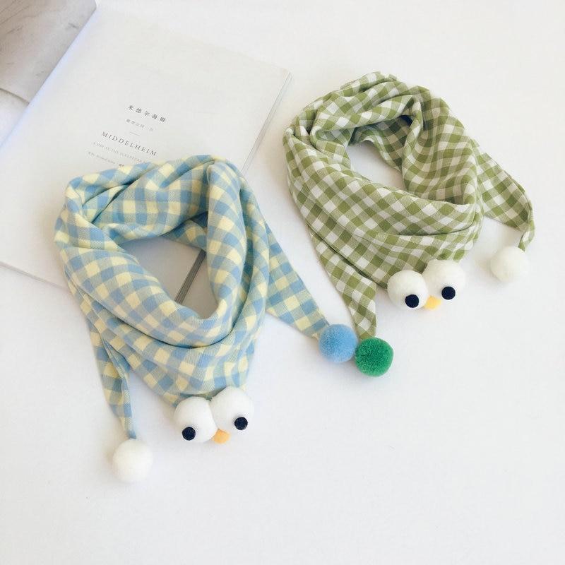 韓国スタイルの漫画チェック柄子供三角スカーフ秋冬新すべてマッチ幼児子供ラップ暖かいネッカチーフ