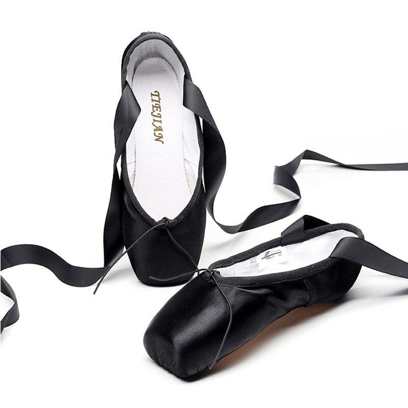Женские атласные туфли, профессиональные Балетные туфли розового, черного и красного цвета с хлопковой гелевой подкладкой из ленты
