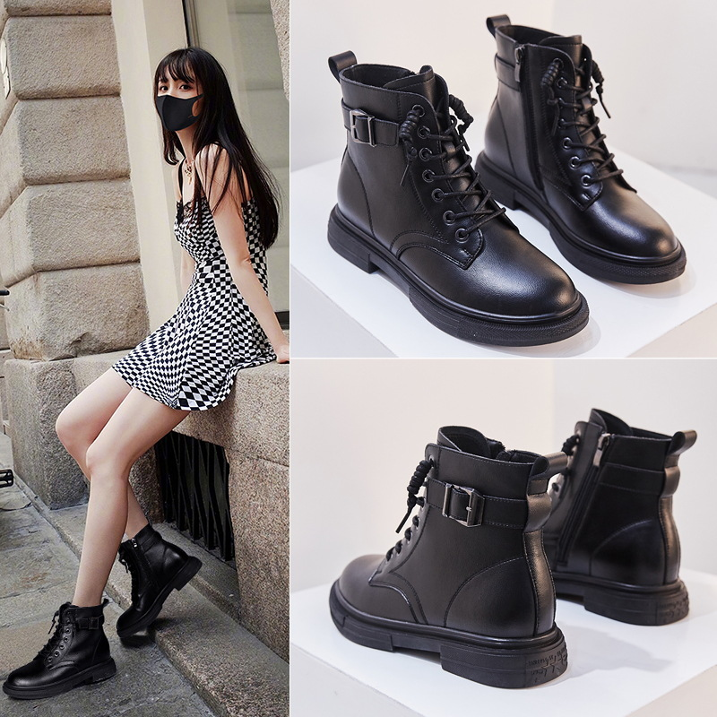 2019 Winter New Style Women's Round-Toe Genuine Leather Casual WOMEN'S Leather Boots Side Zipper Martin Boots Warm Low Heel WOME