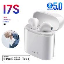 I7s tws bluetooth 5.0 fones de ouvido sem fio esporte fones com caixa microfone estéreo para todos os smartphones
