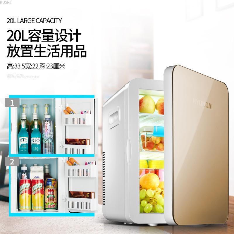 220V 20L  Mini Car Fridge  Home Small Refrigerator Refrigeration Dormitory Car Dual-use Heater Mini Fridges    Refrigerators
