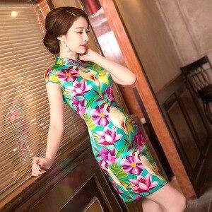 Image 4 - Mùa Hè Năm 2019 Trung Quốc Mới Sườn Xám Váy In Hình Nguyên Chất Lụa Qipao Đầm Cổ Tròn Tu Dưỡng Đạo Đức Hãng Sản Xuất Bán Buôn